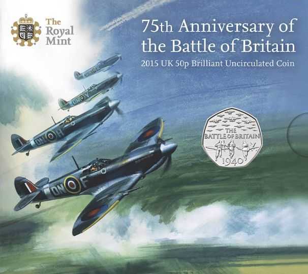 75th Anniversary Battle of Britain 50p Coin packaging